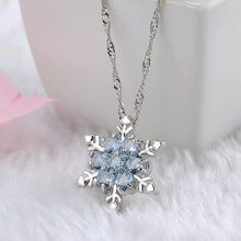 Load image into Gallery viewer, Blue Zircon Crystal Snowflake Pendant Necklace
