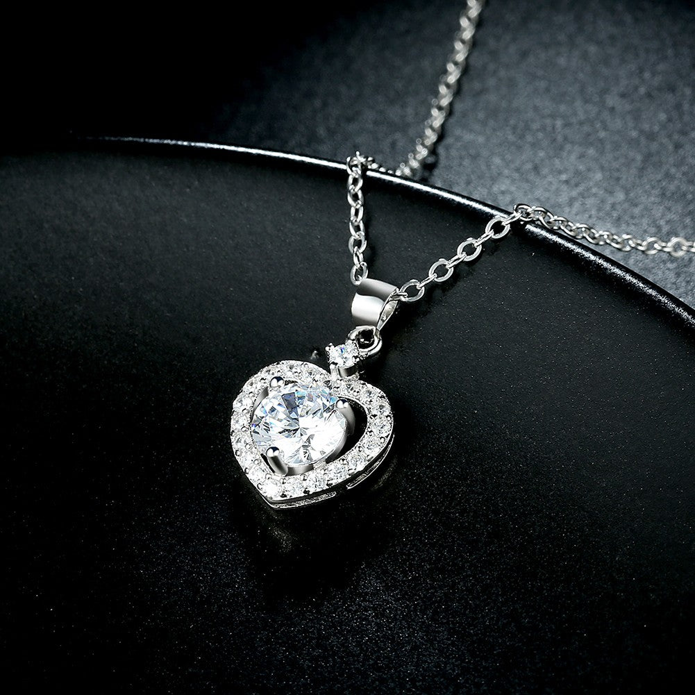 Sterling Silver and Swarovski® Crystal Heart Stone Pendant Necklace
