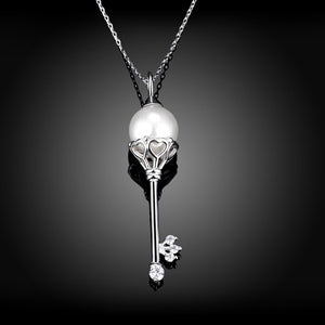 Sterling Silver and Swarovski® Crystal and Pearl Key Pendant Necklace