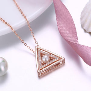Swarovski 14K Rose Gold over Sterling Silver Triangle Pendant Necklace
