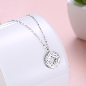 18K White Gold Plated Compass Pendant Necklace