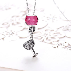 Sterling Silver 2 Piece Party Charm Pendant Necklace