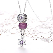 Load image into Gallery viewer, Sterling Silver 2 Piece Purple Snowflake Charm Pendant Necklace