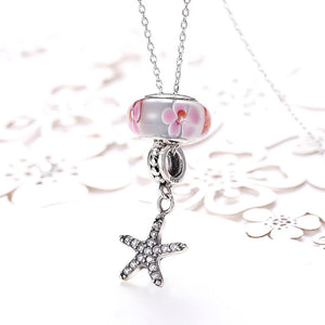 Sterling Silver 2 Piece Pink Starfish Charm Pendant Necklace