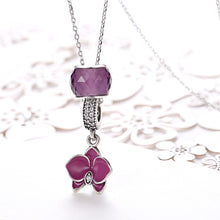 Load image into Gallery viewer, Sterling Silver Purple Floral Charm Pendant Necklace