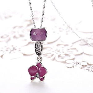 Sterling Silver Purple Floral Charm Pendant Necklace