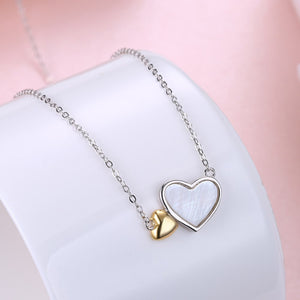 18K White Gold Over Sterling Silver Double Heart Pendant Necklace