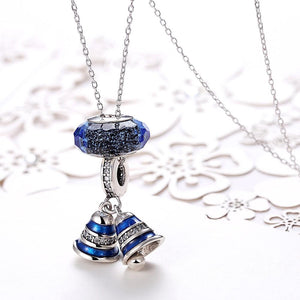 Sterling Silver 2 Piece Sapphire Jingle Bells Charm Pendant Necklace