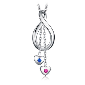 Sterling Silver Ruby And Sapphire Infinity Heart Pendant