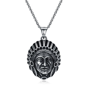 Stainless Steel Indian Chief Pendant Necklace
