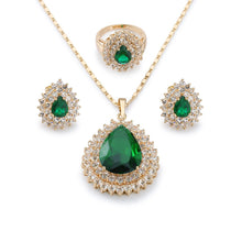 Load image into Gallery viewer, Crystal Teardrop Pendant Necklace with Earrings and Ring Set