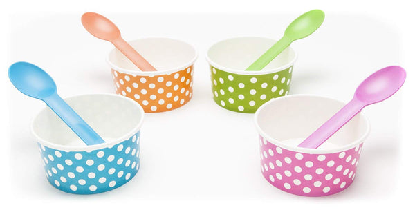 Rainbow Paper Polka Dot 6 oz Ice Cream Bowls Spoons Set (Qty 40)