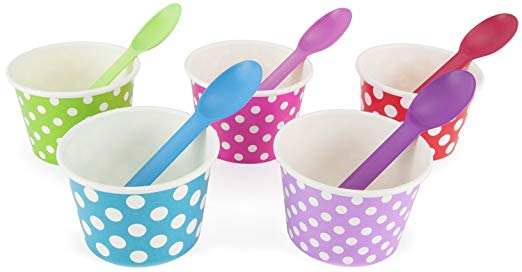 Rainbow Paper 8 oz Ice Cream Bowls Spoons Set (Qty 50)