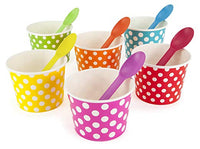 Rainbow Paper 12 oz Ice Cream Bowls Spoons Set (Qty 60)