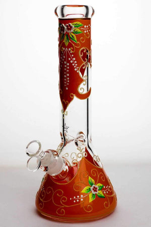 "13"" Luminous heavy glass flower artwork beaker bong - One wholesale Canada"