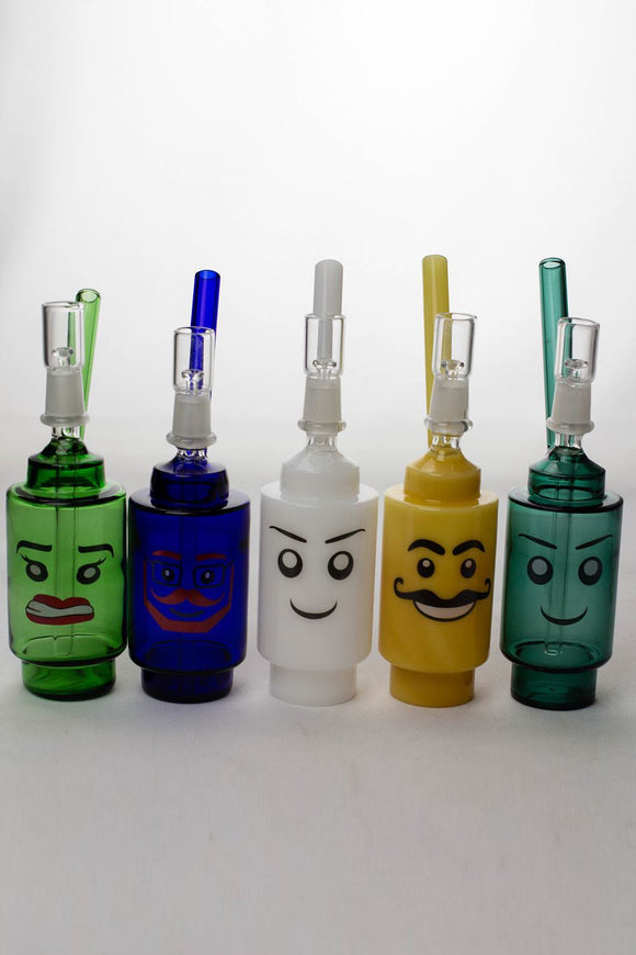 7 inches Lego head  2-in-1 glass water bubbler - One wholesale Canada