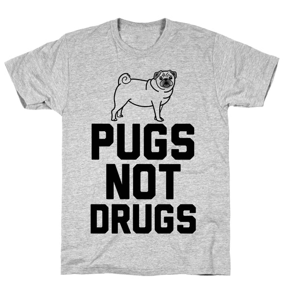 Pugs Not Drugs Athletic Gray Unisex Cotton Tee by LookHUMAN