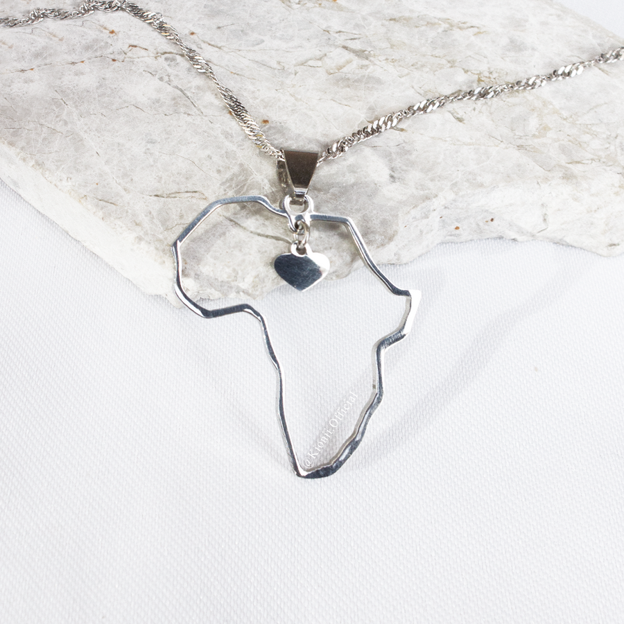 Africa Heart Necklace (Silver) - KIONII
