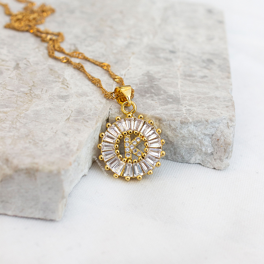 Crystal Initial Gold Necklace