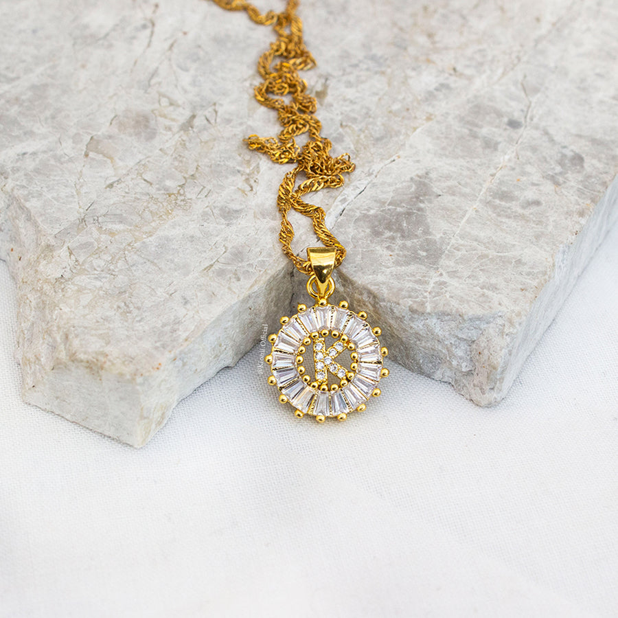 Crystal Initial Gold Necklace - KIONII