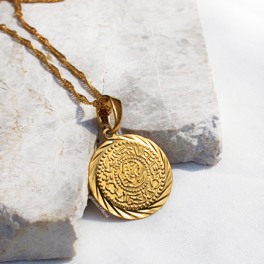 Gold Medallion Coin Necklace - KIONII