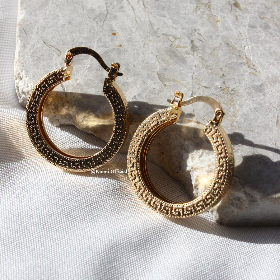 Greek Gold Hoops - KIONII