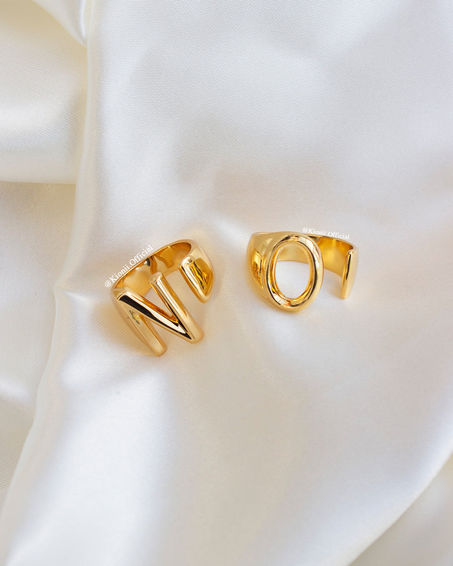 Initial Gold Chunky Ring - KIONII