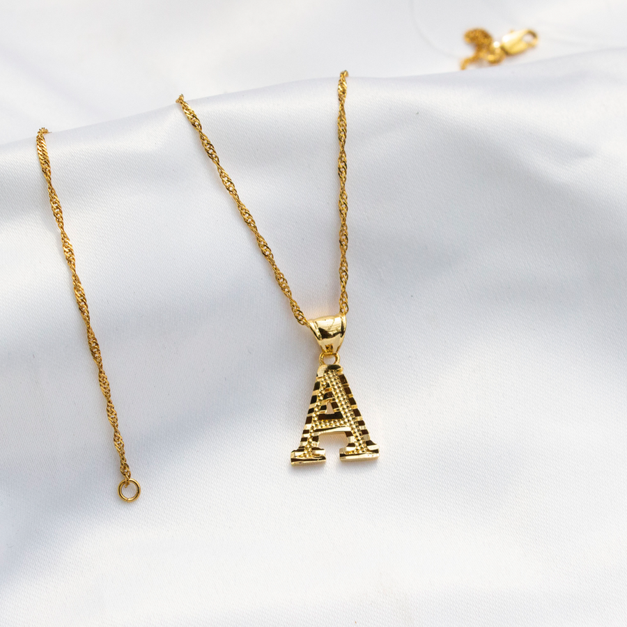 Initial Pendant Gold Plated Necklace - KIONII