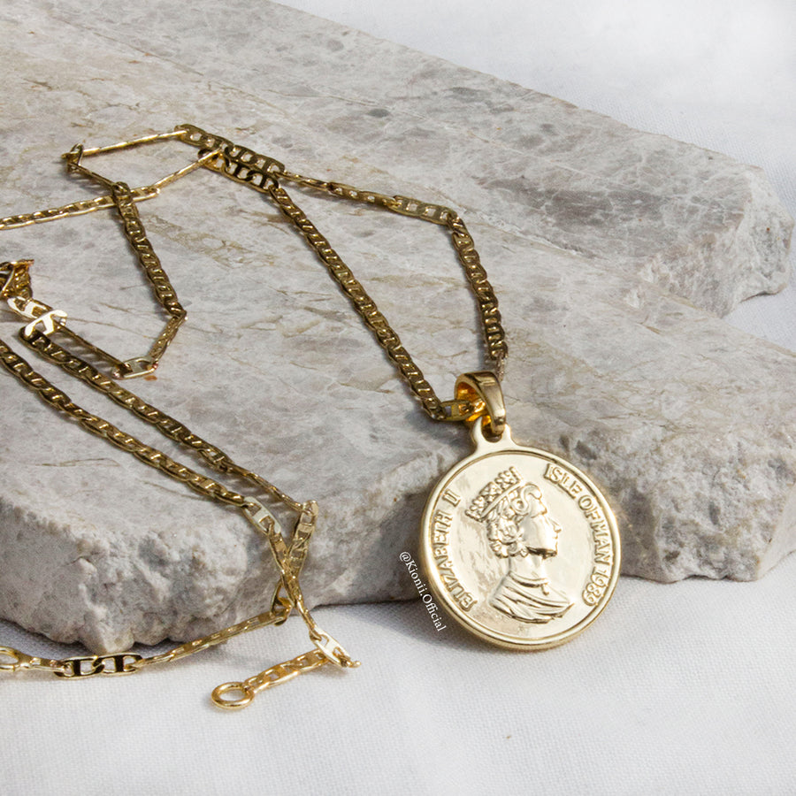 Queen E Coin Gold Filled Necklace - KIONII
