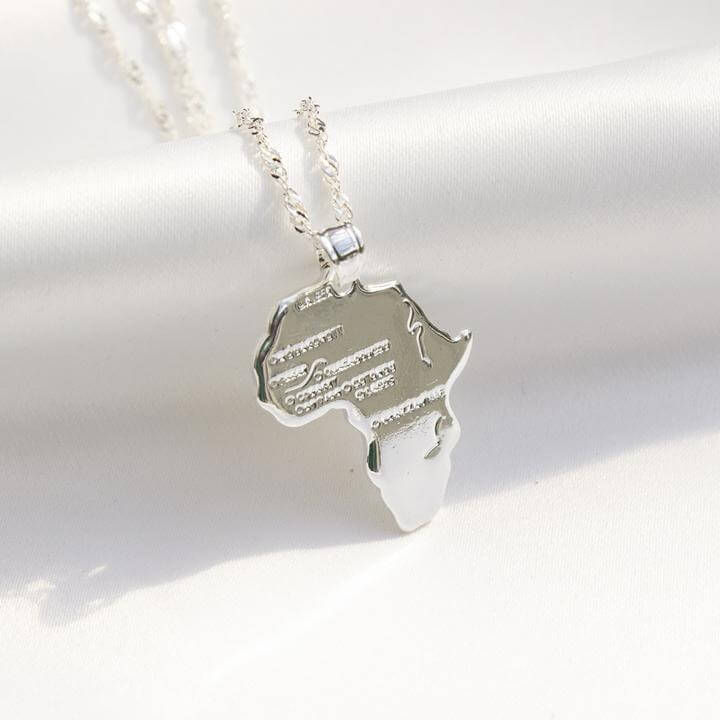 African Map Necklace (Silver) - KIONII