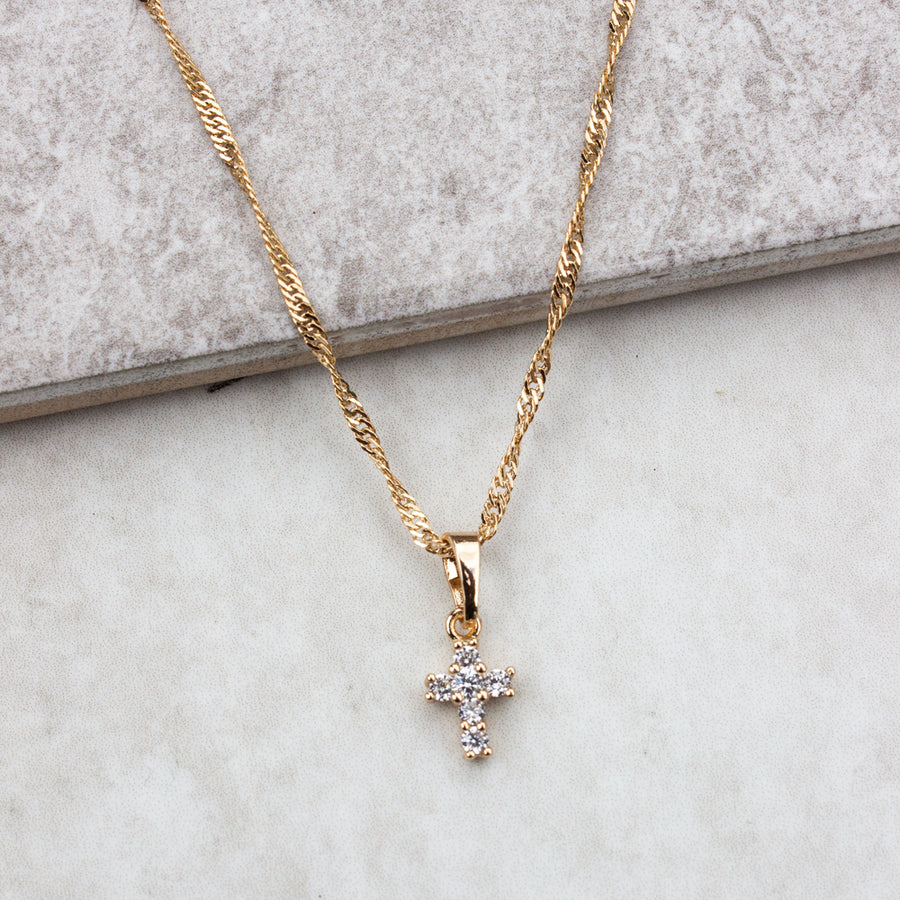 Tiny Cross Necklace - KIONII