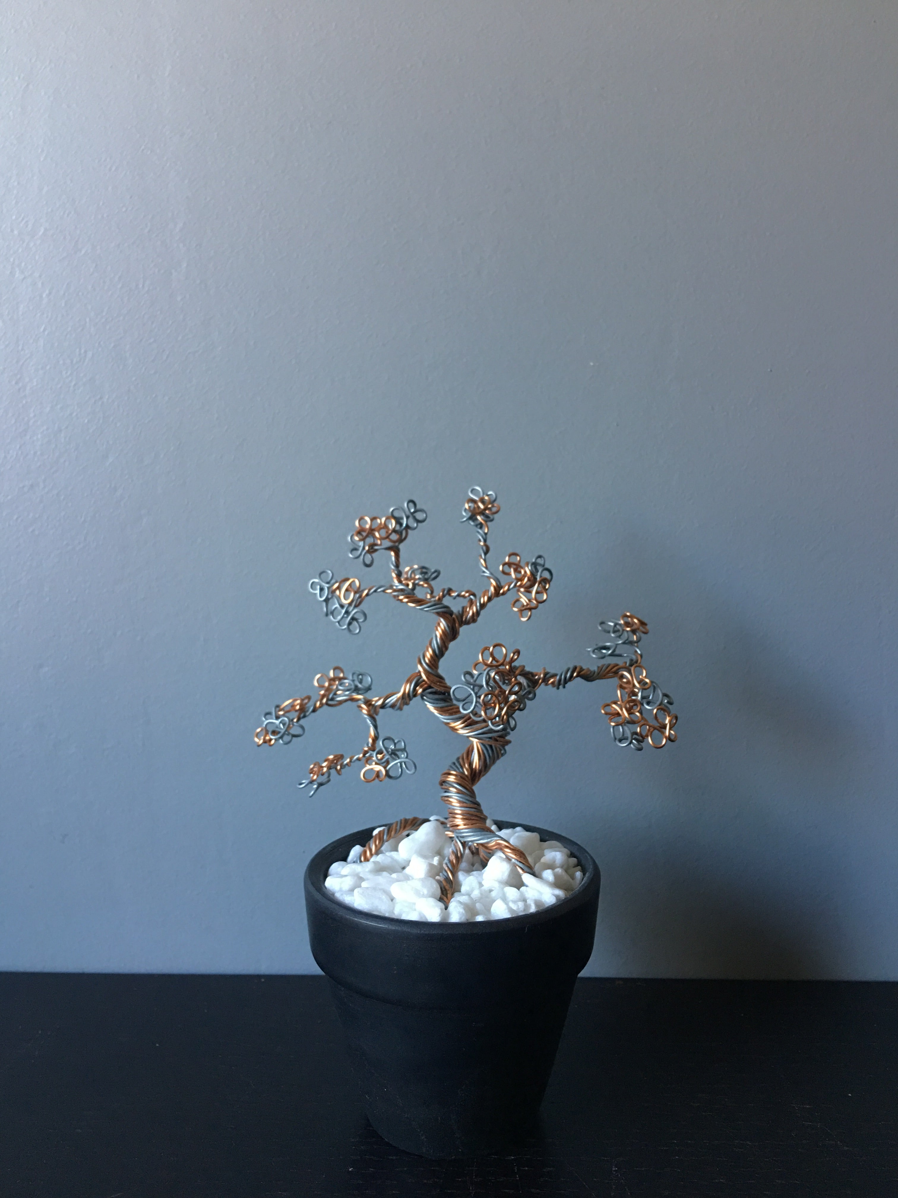 Silver and Copper Bonsai in Pot
