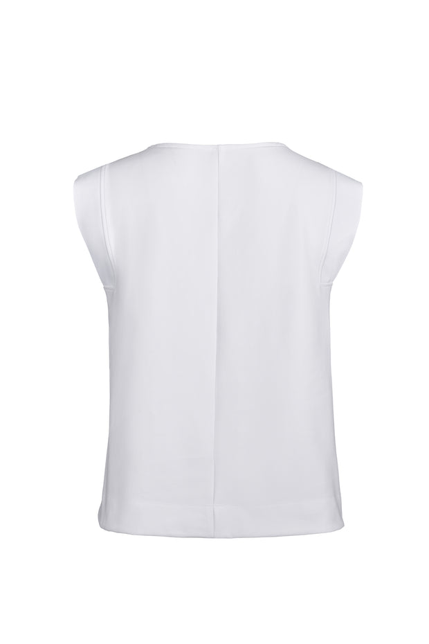 White Solid Crew Neck Tank