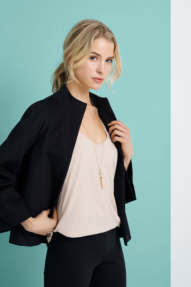 Black Wide Sleeve Cropped Jacket