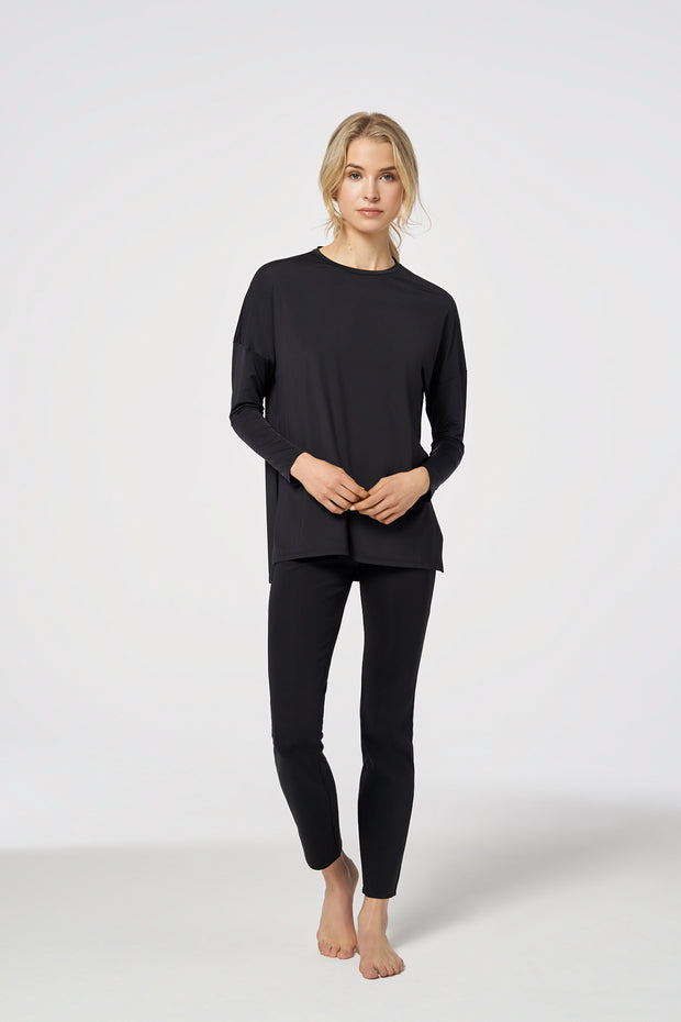Black Black Performance Long Sleeve Light Tailored Top