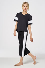 Black Performance Cropped Striped Wide-Leg Pant