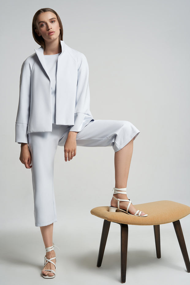 Cloud-dust Performance Cropped Striped Wide-Leg Pant