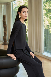 Black Long Sleeve Light Tailored Top