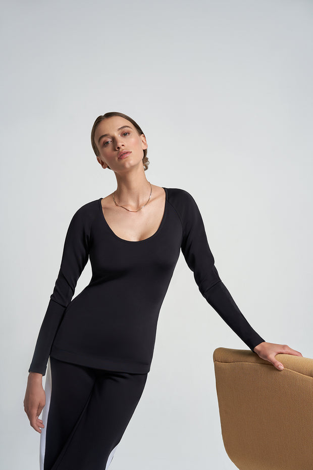 Black Scoop Neck Top
