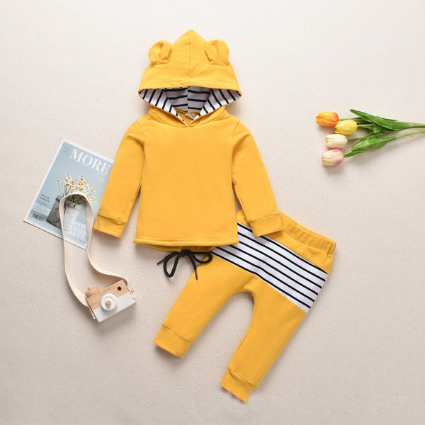 Toddler Teddy Bear Hoodie Set - Yellow