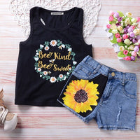 Girls Sunflower Tank & Shorts Set