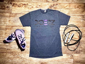 Short Sleeve Doerz Purple and Charcoal