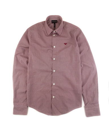 Emporio Armani Slim Fit Long Sleeve Shirt in Red Check