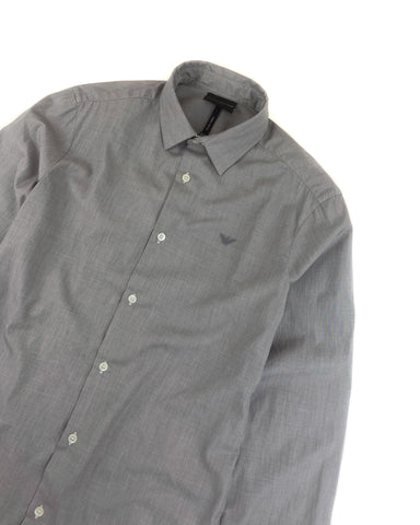 Emporio Armani Slim Fit Long Sleeve Shirt in Grey
