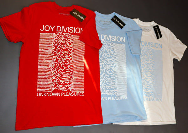 Official Licensed Joy Division Unknown Pleasures T-Shirt - Red