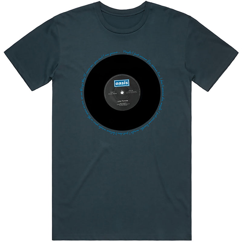 Official Oasis Live Forever Single T-Shirt - Blue