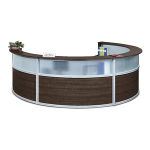 Compass Quad Unit Laminate & Glass Panel Reception Desk