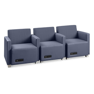 Compass 3-Seat Configuration, 1 arm chair/2 left arm chairs