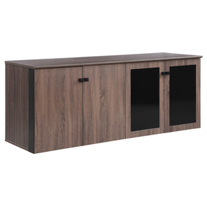 "Allure 72"" x 24"" Low Wall Storage Cabinet with Wood and Glass Doors"