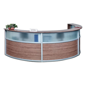 Compass Triple Unit Laminate & Glass Panel Reception Desk